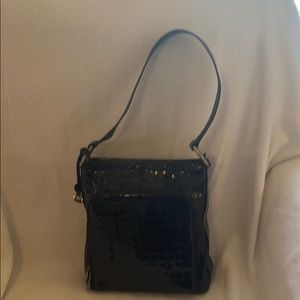 Brighton Black Croco Patent Handbag